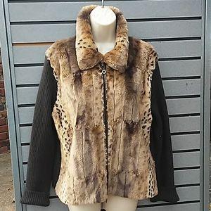 Leopard print zip-up jacket